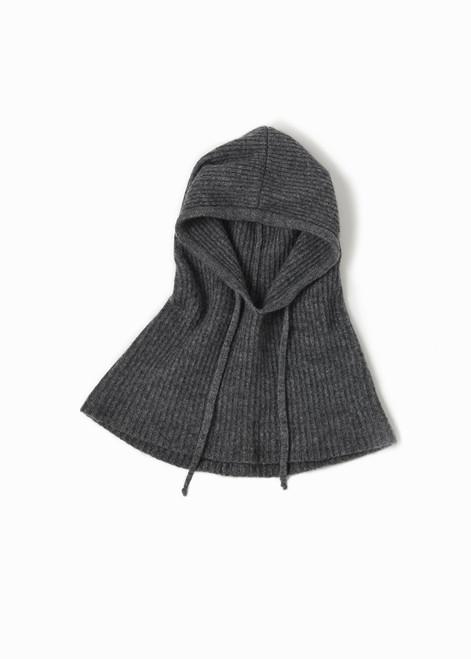 Wool Blended Hoodie Snood - Charcoal