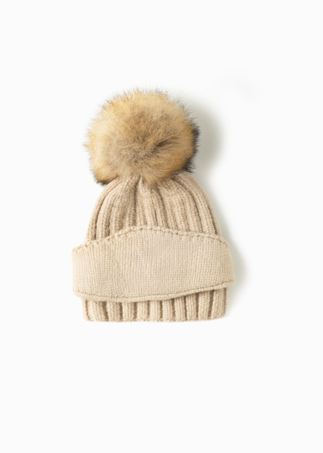 Chunky Ribbed Mask Hat - Beige