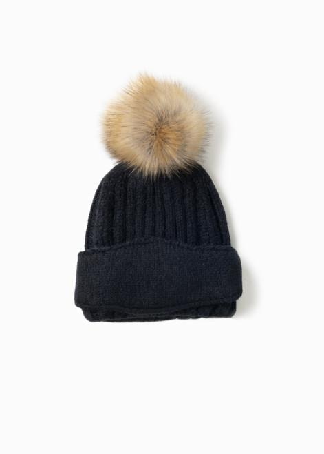 Chunky Ribbed Mask Hat - Black