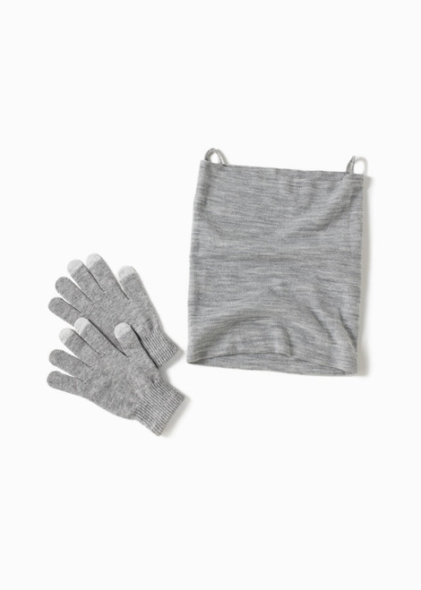Antimicrobial Neck Warmer And Gloves - Grey