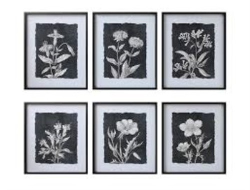 "23-1/2""L x 27-3/4""H Wood Framed Glass Wall Decor w/ Botanical Print"