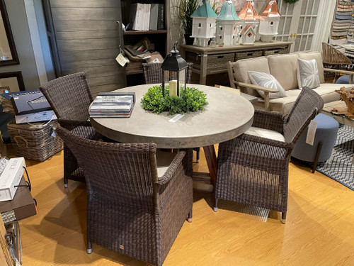 CO9 Design Sample Set  (30% OFF) -  Bridge Round Table with Savannah Brown Wicker Chairs
