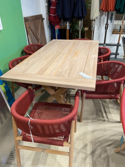 """CO9 Design Sample Set  (40% OFF) -  Lakewood 72"""" Trestle Table with Ava Dining Chairs with Merlot Rope"""