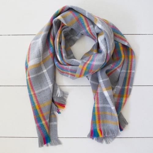 Rainbow And Grey Tartan Blanket Scarf