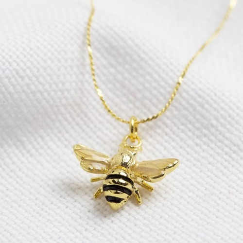 Enamel Tiny Bee Necklace