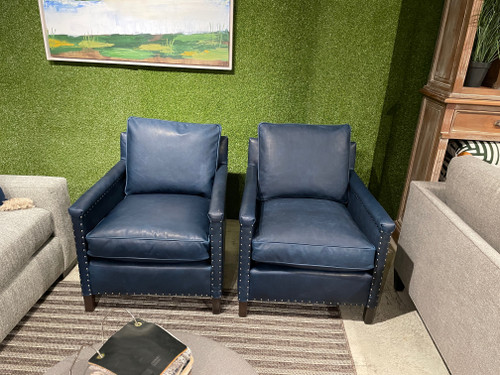 50% Off Sample Sale 2 Leather Chairs with platinum Nailheads