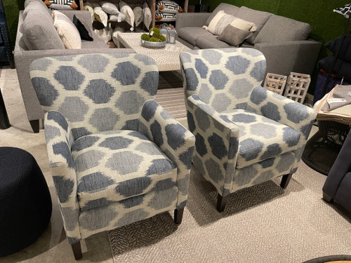 50% Off Pair Of Chairs  Sample Sale 2 Blue And White Chairs