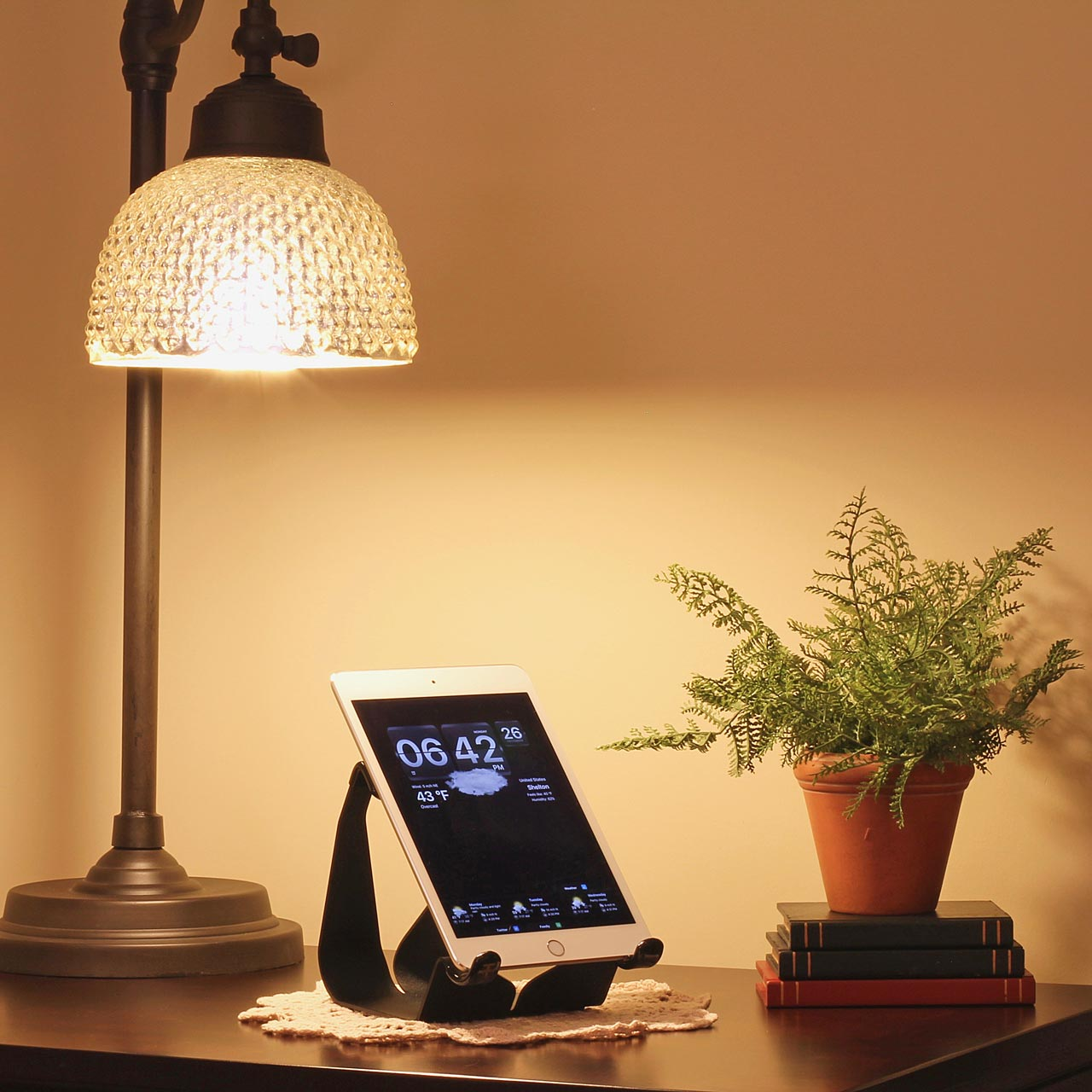 iPad stand used on a night stand