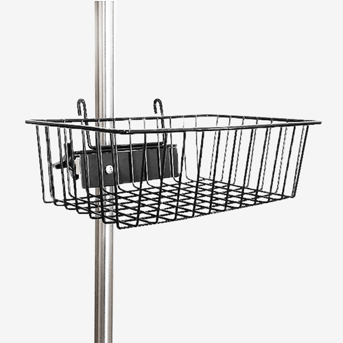 IVP-1100 - IV Pole Wire Basket Accessory w/ Mounting Clamp