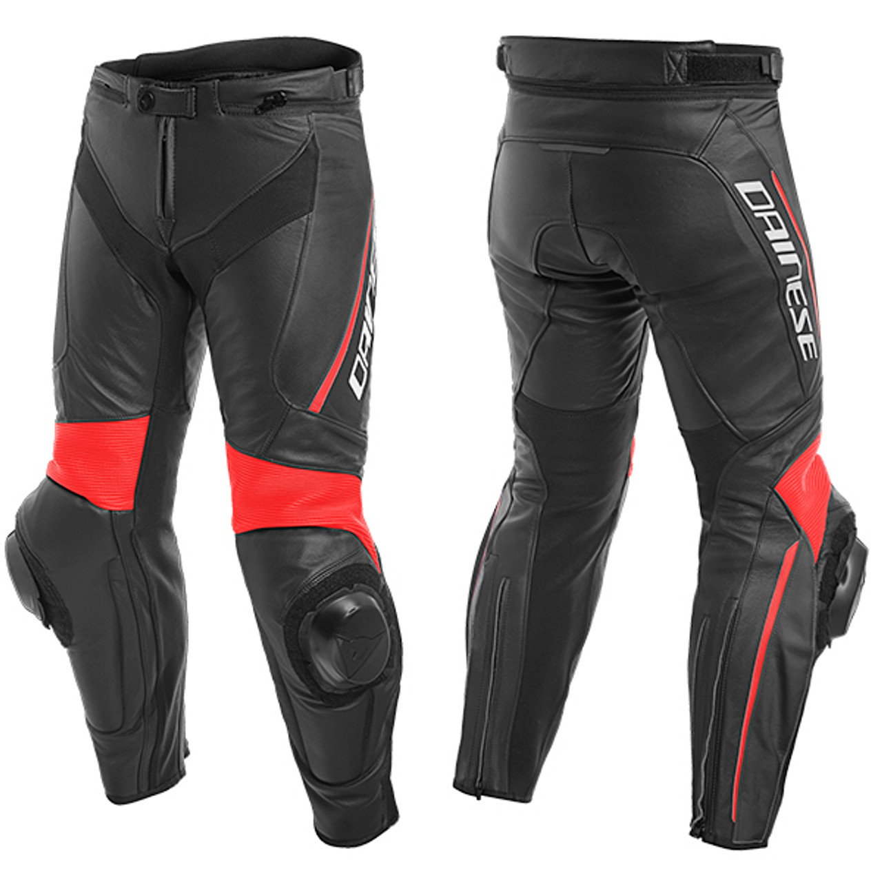 Dainese Delta 3 Leather Pants - P75 Black / Fluo Red