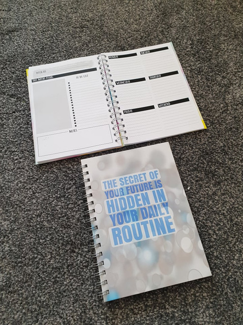Blue Quote  Weekly Planner Notebook