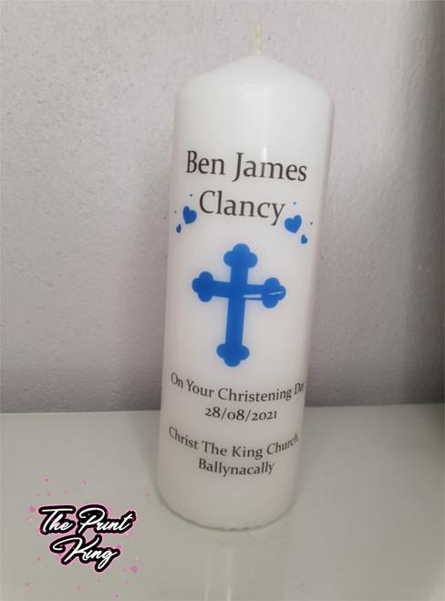 Christening Candle - Blue Minimalistic