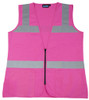 Ctn Qty 1. Pink female fitted vest. 100% polyester tricot. Zipper front closure. 2 exterior waist pockets. S - 3X