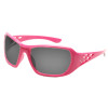 Carton Qty: 12. Fashionable pink safety glasses for women with Rhinestone design on temples. 8 base curve, dual smoke lenses. 99% UV protection. Meets ANSI Z87.1 - Impact requirements.