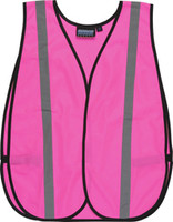 Carton Qty 1. Non-ANSI Pink vest. 100% polyester tricot. Durable elastic side straps. Great for women at work, visitor identification, benefit walks or promotional events. One size fits most.