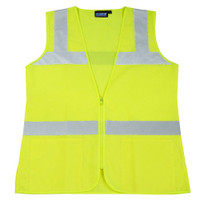 Ctn Qty 1. Class 2 Hi Viz lime female fitted vest. Meets ANSI/ISEA 107, Class 2. Contoured waist, vents at hips, repositioned horizontal tape. 100% polyester tricot. Zipper front closure, 2 exterior waist pockets. M - 3X