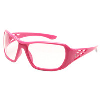 Carton Qty: 12. Fashionable pink safety glasses for women with Rhinestone design on temples. 8 base curve, dual clear lenses. 99% UV protection. Meets ANSI Z87.1 - Impact requirements.