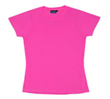 Ctn Qty 1. Hi Viz pink 6 oz. 100% polyester soft jersey knit ladies T-shirt. Designed to flatter the female figure. Does not meet ANSI requirements. XS - 3X