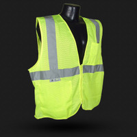 """Radians SV25 Economy Class 2 Fire Retardant Safety Vest with Zipper Closure is ANSI 107 Compliant FR protection at an economical price. Excellent choice for extreme work environments like petro-chem, asphalt paving, short-term labor, and welding where a Non-Durable FR* level of protection is sufficient.     *""""Non-durable FR protection"""" is achieved by chemically treating a material that is not fire retardant by itself, but becomes self-extinguishing after the treatment.  Closure: Zipper.  2"""" silver tape reflective material. 1 horizontal stripe. Pockets: 1 Upper Left Front, 1 Lower Right Inside. Material: NFPA 701 (2004) Treated Fabric, 100% Polyester Mesh. Available in hi-viz orange and green. 3rd Party Certified – Meets ANSI/ISEA 107-2010 Standards. Sizes: M, L, XL, 2X, 3X, 4X, 5X"""