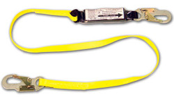 6' shock absorbing web lanyard w/pack, #74N locking snaps at each end.