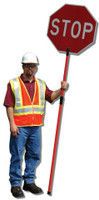 "Traffic Paddle Set 24"" HIP - New Telescopic Fiberglass Pole"