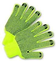 Hi-VIS COTTON STRING PVC DOTS GLOVES (12pair)