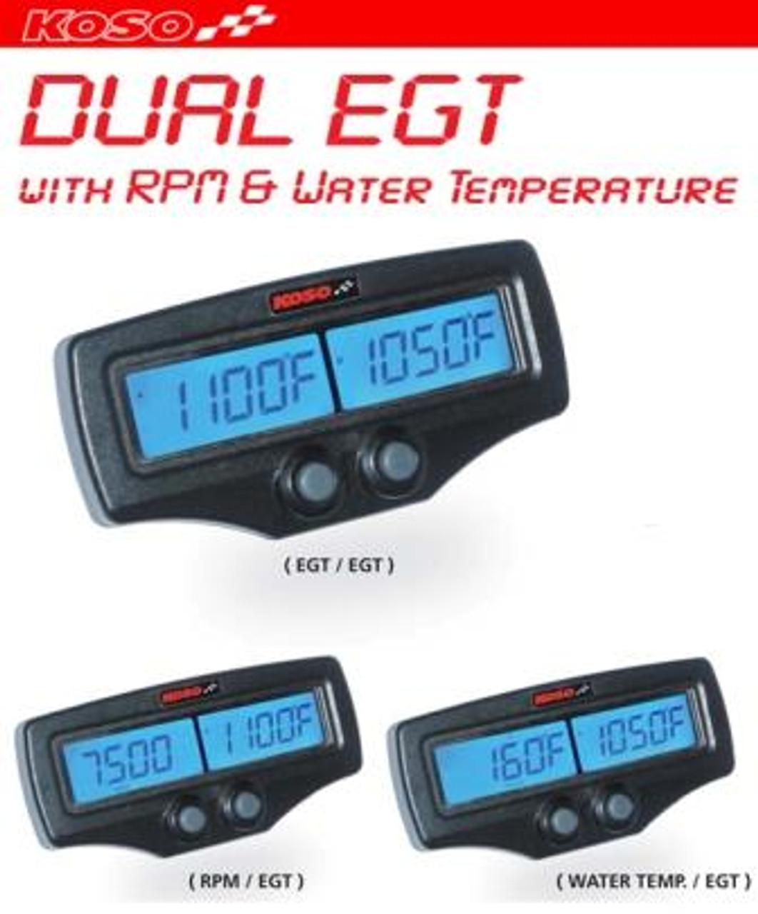 KOSO DUAL EGT WITH RPM AND WATER TEMPERATURE