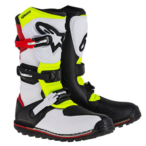 Alpinestars Tech T boots. White Red Yellow Fluo Black