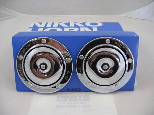 Horn Dual 12 Volt Chrome, Nikko 21-0645