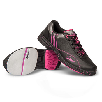 Hammer Vixen Womens Bowling Shoes Black/Magenta Right Hand - showing sliding sole