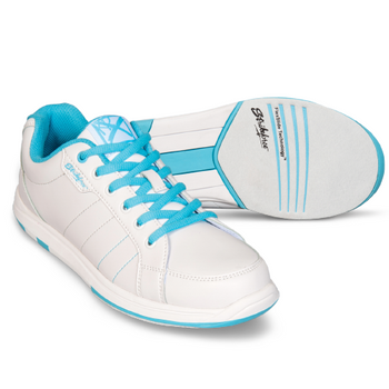 KR Strikeforce Satin Youth Bowling Shoes - White/Aqua