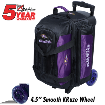 KR Strikeforce NFL Baltimore Ravens 2 Ball Roller Bowling Bag Standing