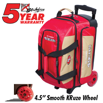 KR Strikeforce NFL San Francisco 49ers 2 Ball Roller Bowling Bag  Standing