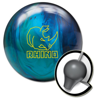 Brunswick Rhino Bowling Ball and core - Cobalt/Aqua/Teal Pearl