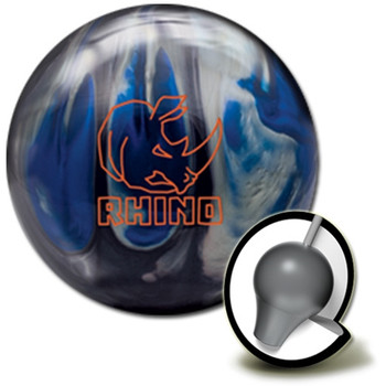 Brunswick Rhino Bowling Ball and core - Black/Blue/Silver Pearl