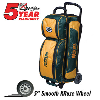 KR Strikeforce NFL Green Bay Packers Triple Roller Bowling Bag