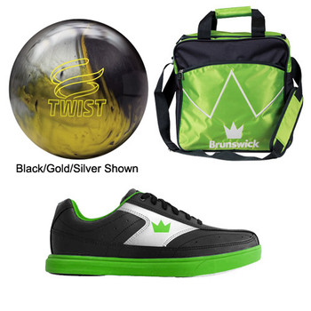 Brunswick Boys Twist Bowling Ball, Bag and Shoes Package