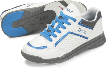 Dexter Mens Bud White/Blue Bowling Shoes