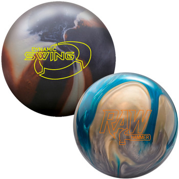 Columbia 300 Dynamic Swing Bowling Ball and Hammer Raw Hammer Blue/Silver/White Pearl Bowling Ball package