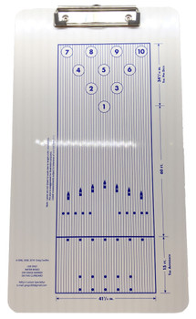 Coaching clipboard for helping bowlers with their target and line.