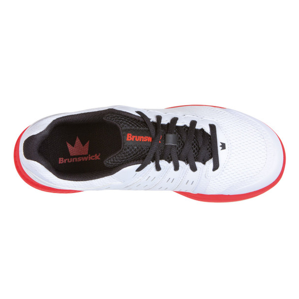 Brunswick Fuze Mens Bowling Shoes - White/Red - top shoe