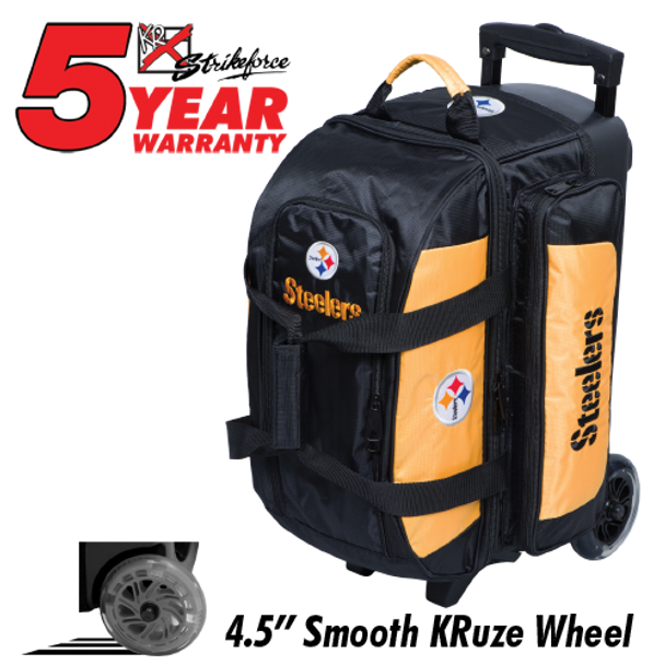 KR Strikeforce NFL Pittsburgh Steelers 2 Ball Roller Bowling Bag Standing