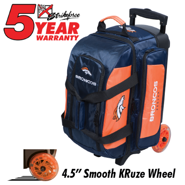 KR Strikeforce NFL Denver Broncos 2 Ball Roller Bowling Bag Standing