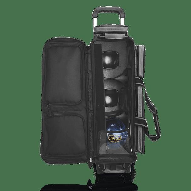 Storm Rolling Thunder 3 Ball Roller bowling bag -Plaid/Grey/Black - open