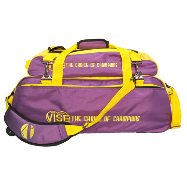 Vise 3 Ball Tote Roller with Shoe Pouch Purple/Gold