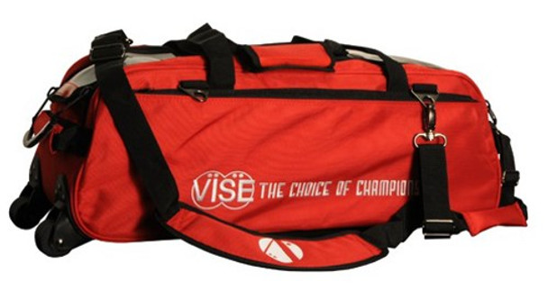 Vise 3 Ball Tote Roller Bowling Bag Red