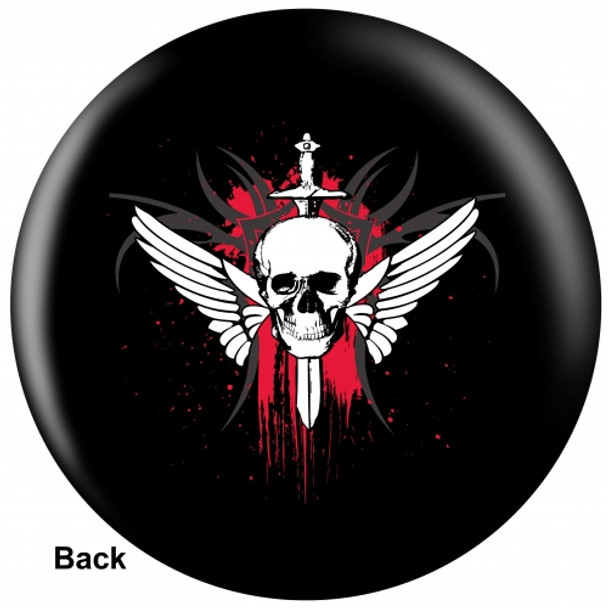 OTBB Winged Skull Bowling Ball back