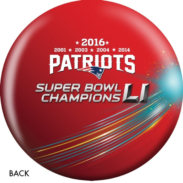 OTTB New England Patriots Bowling Ball Super Bowl 51 Champions back