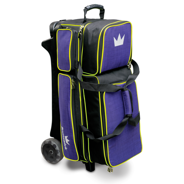 Brunswick Crown Deluxe Triple Roller Bowling Bag - Purple/Yellow