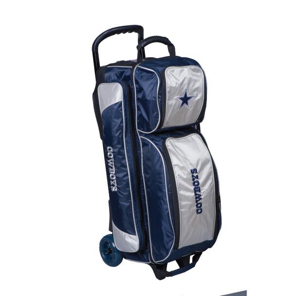 KR Strikeforce NFL Dallas Cowboys Triple Roller Bowling Bag left